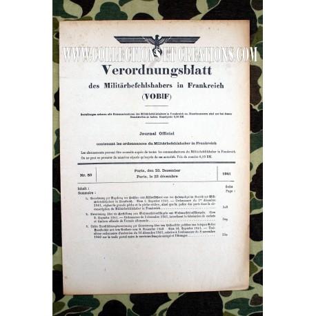 ORDONNANCE OFFICIEL MILITAIRE EN FRANCE 23 DEC. 1941