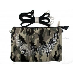 POCHETTE CAMOUFLAGE AILES D'ANGE STRASS