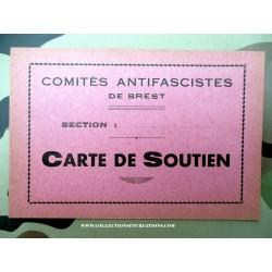 CARTE DE SOUTIEN ANTIFASCISTES DE BREST 1940/45