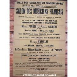 GRANDE AFFICHE JEUDI 13 MARS 1941 + 1 BILLET 20F 1941