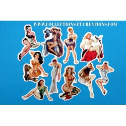 LOT 10 STICKERS PIN-UP VINTAGE